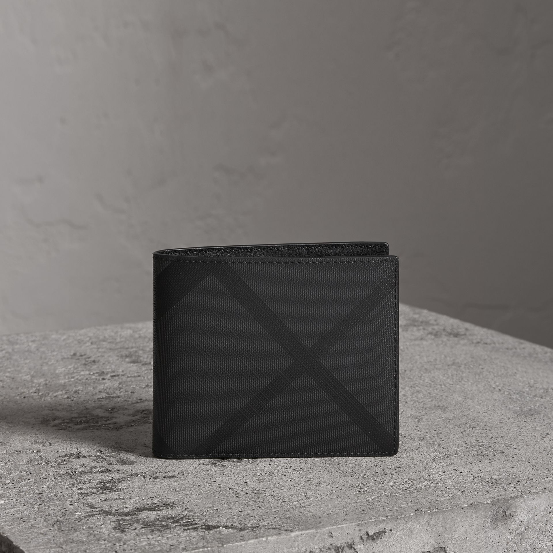 London Check Bifold Wallet with Removable Card Case in Charcoal/black - Men | Burberry Canada - gallery image 0