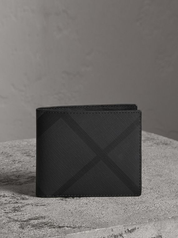 London Check Bifold Wallet with Removable Card Case in Charcoal/black