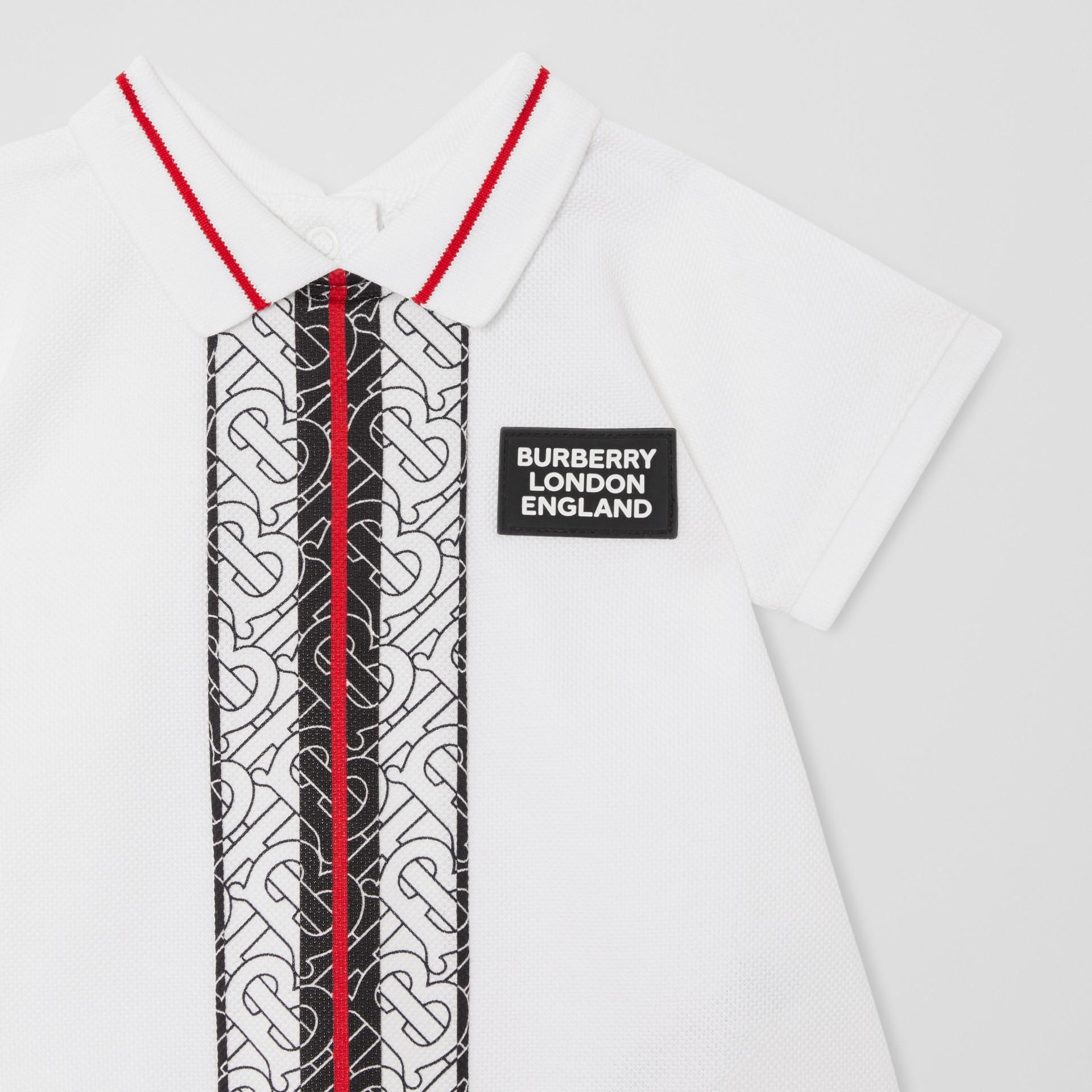 Kleid aus Baumwollpiqué mit Monogrammmuster im Streifendesign und Höschen (Weiß) - Kinder | Burberry - Galerie-Bild 4