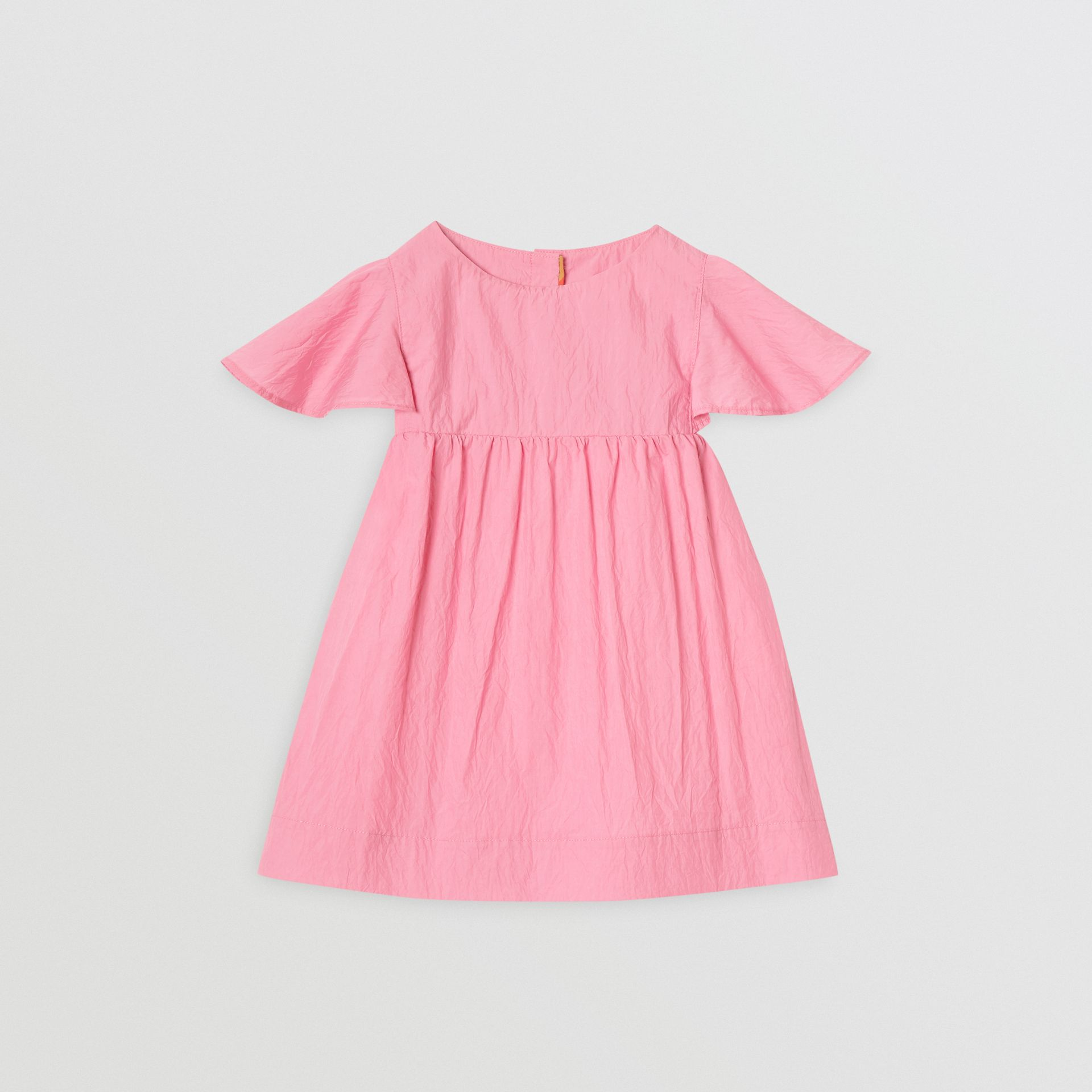 Ruffled Detail Crinkled Cotton Blend Dress in Bright Rose - Children | Burberry - gallery image 0