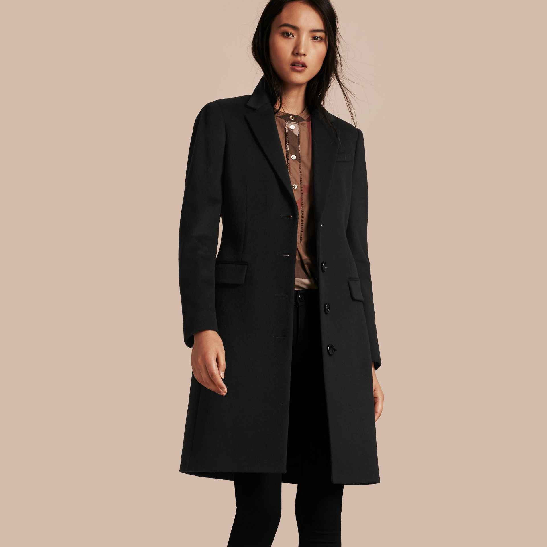Black Tailored Wool Cashmere Coat Black - gallery image 1