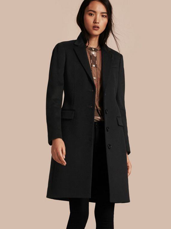 Tailored Wool Cashmere Coat Black