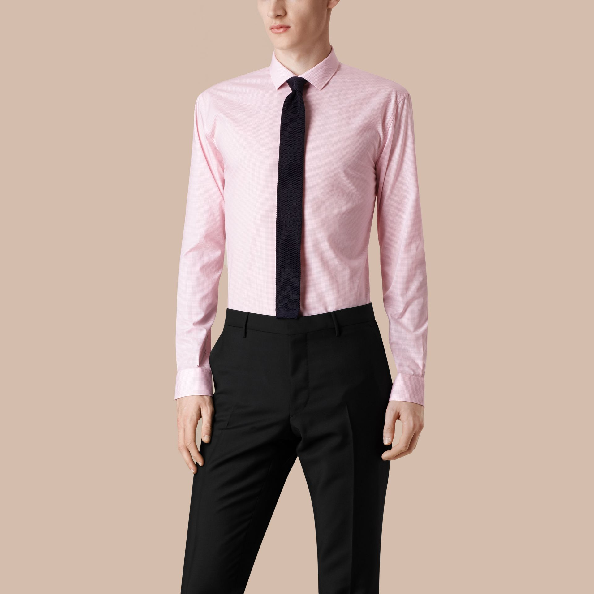 Modern Fit Gingham Cotton Poplin Shirt City Pink - gallery image 1