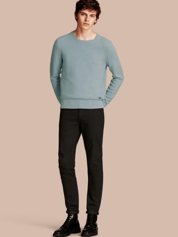 Waffle Knit Cashmere Sweater Pale Eucalyptus