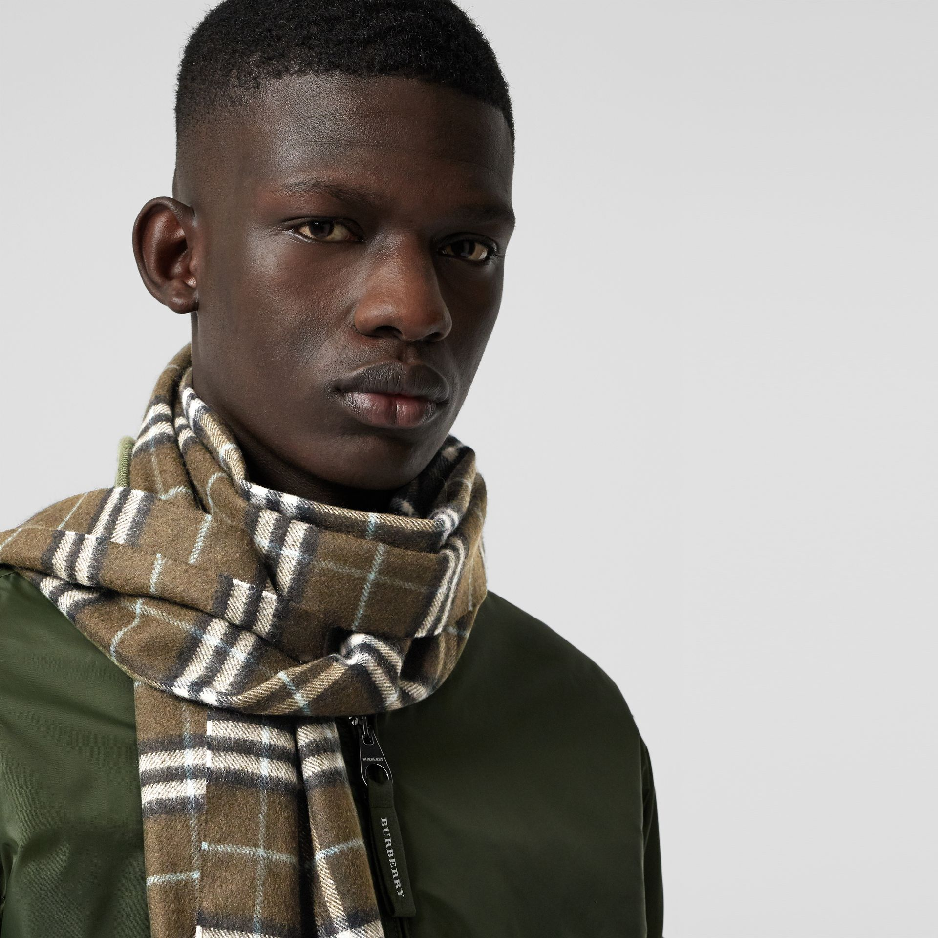 The Classic Vintage Check Cashmere Scarf in Military Brown | Burberry Australia - gallery image 6