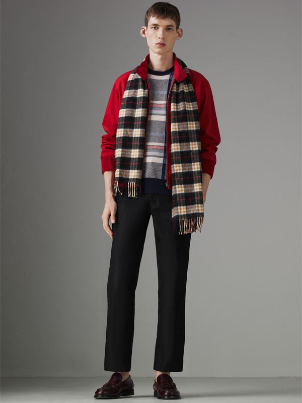 Check Cashmere Scarf in Black | Burberry - cell image 3