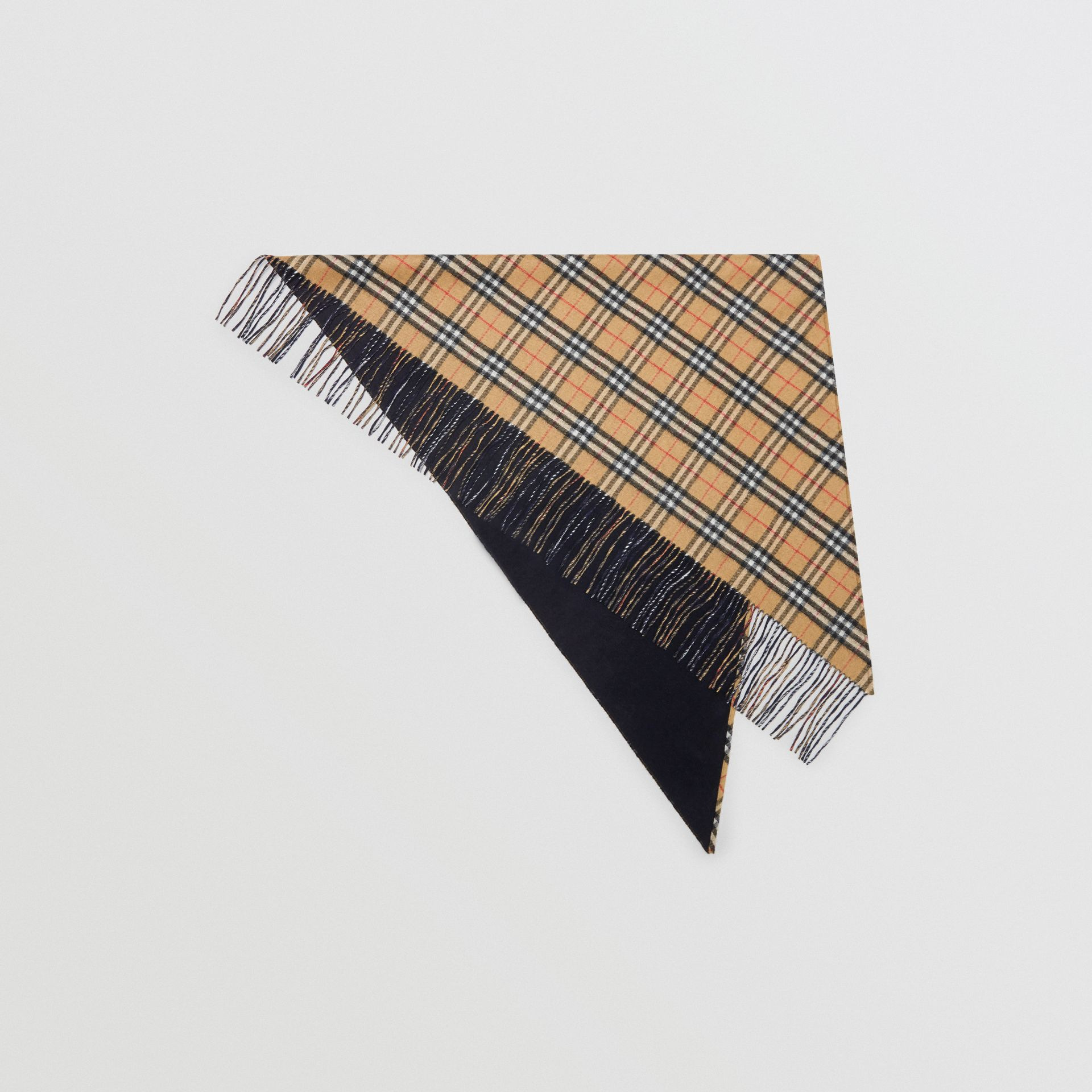 The Burberry Bandana in Vintage Check Cashmere in Blue Carbon | Burberry Australia - gallery image 0