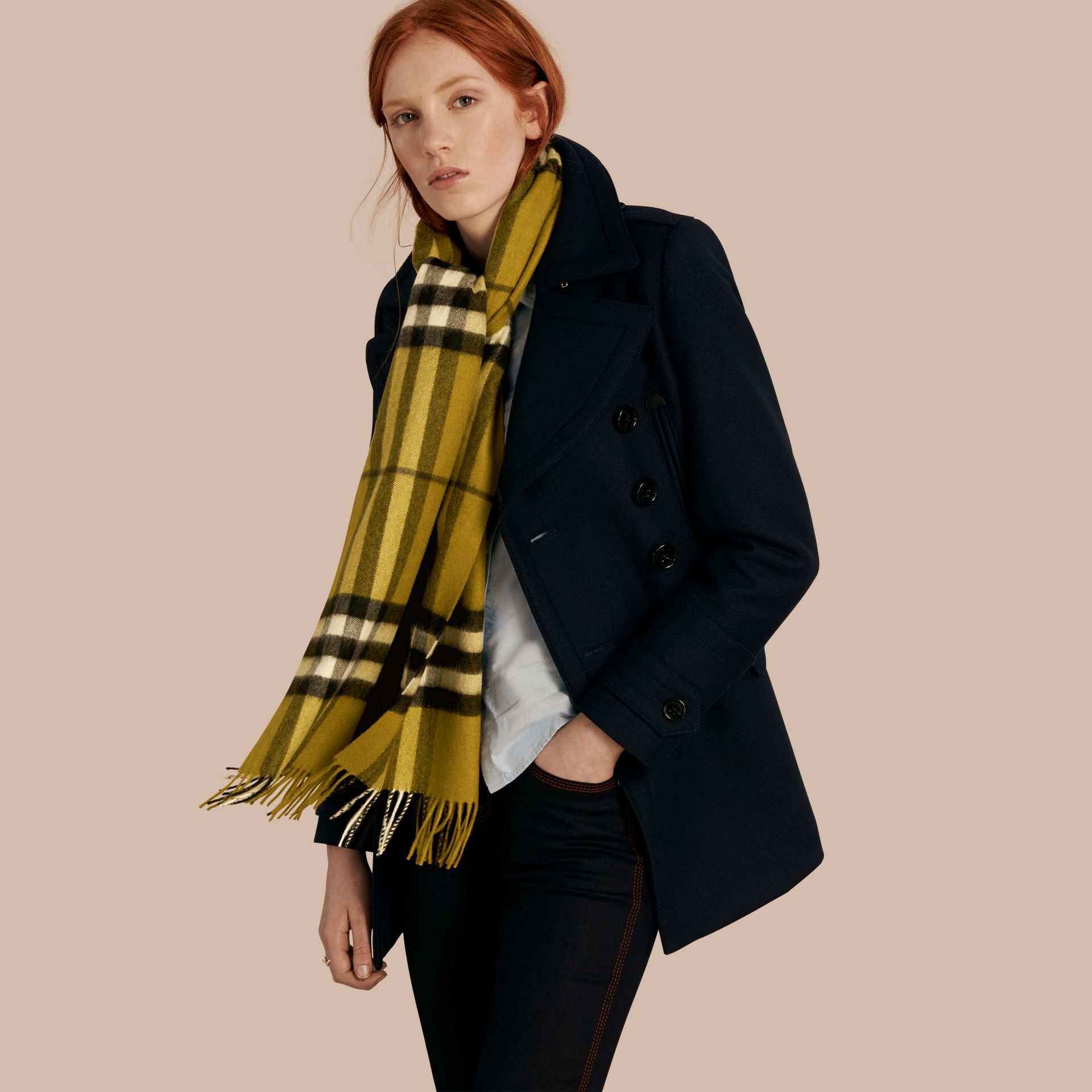 The Classic Cashmere Scarf in Check in Dark Lime - gallery image 3