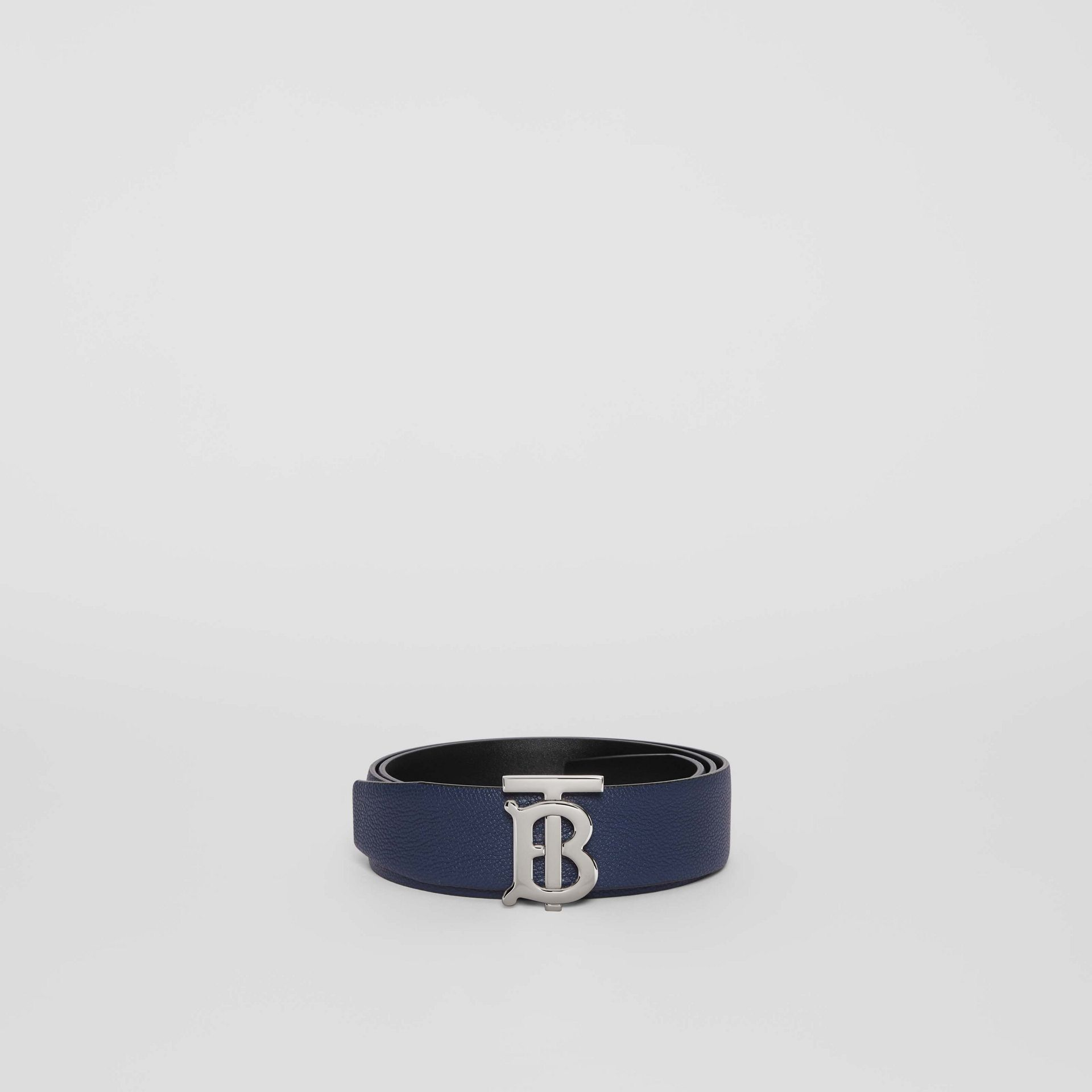 Reversible Monogram Motif Leather Belt in Navy/black - Men | Burberry United Kingdom - gallery image 2