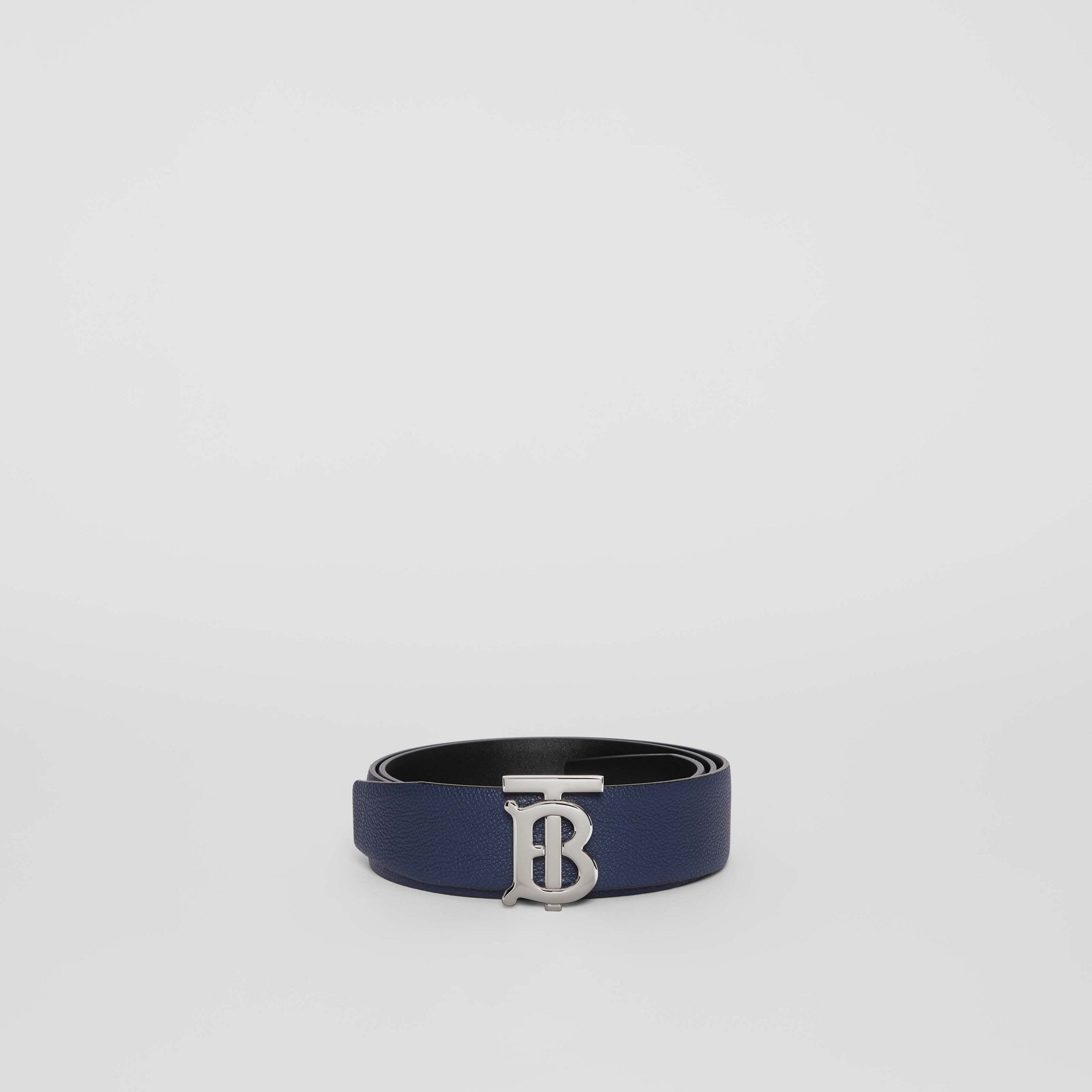 Reversible Monogram Motif Leather Belt in Navy/black - Men | Burberry - 4
