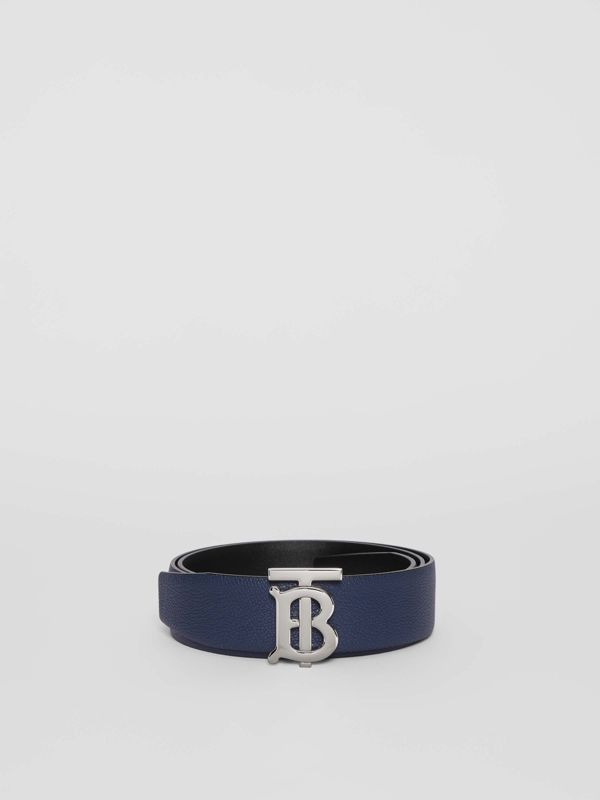 Reversible Monogram Motif Leather Belt in Navy/black - Men | Burberry United Kingdom - cell image 3