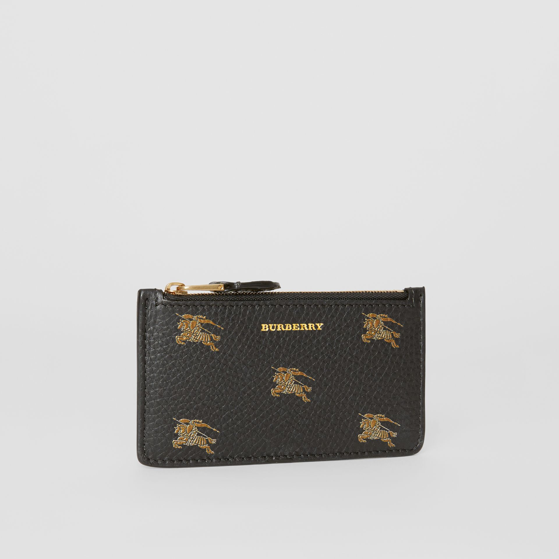 Porta carte di credito in pelle con cerniera e cavaliere equestre (Nero) - Donna | Burberry - immagine della galleria 3