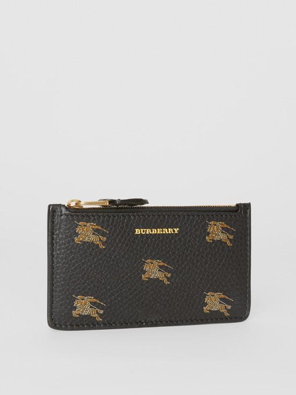 Porta carte di credito in pelle con cerniera e cavaliere equestre (Nero) - Donna | Burberry - cell image 3