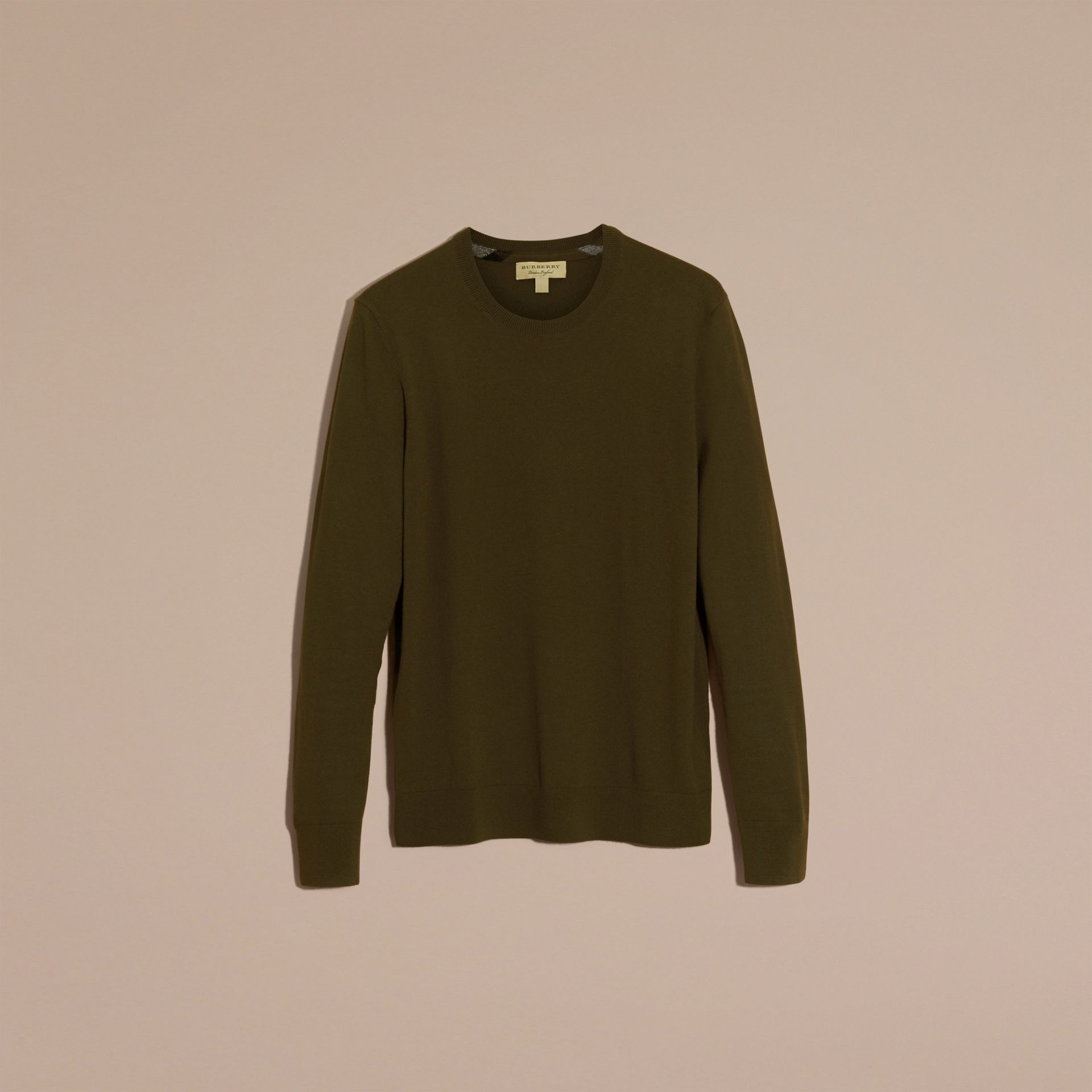 Military olive Lightweight Crew Neck Cashmere Sweater with Check Trim Military Olive - gallery image 4