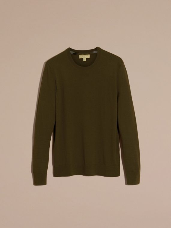 Military olive Lightweight Crew Neck Cashmere Sweater with Check Trim Military Olive - cell image 3
