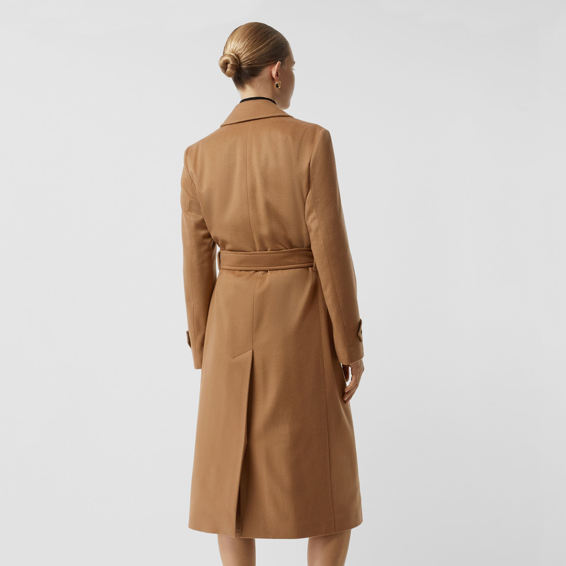 Peak Lapel Cashmere Wrap Coat in Dark Sand - Women | Burberry - gallery image 2