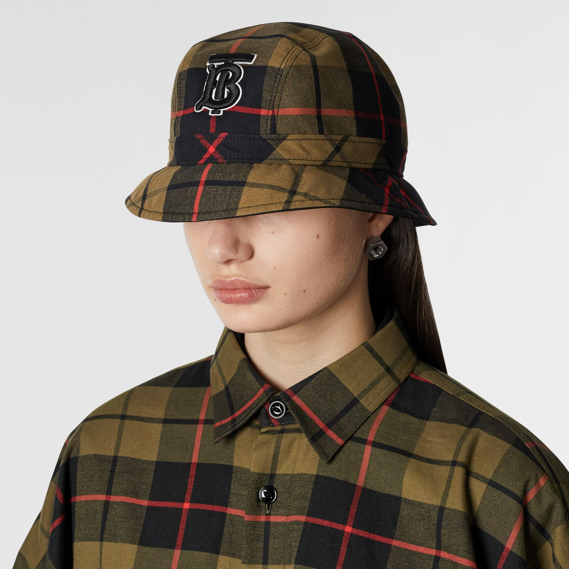 Reversible Monogram Motif Bucket Hat in Military Olive | Burberry Singapore - gallery image 2