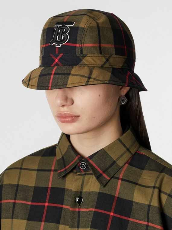 Reversible Monogram Motif Bucket Hat in Military Olive