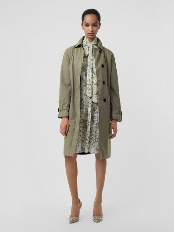 Puppytooth Check Belted Car Coat in Chalk Yellow