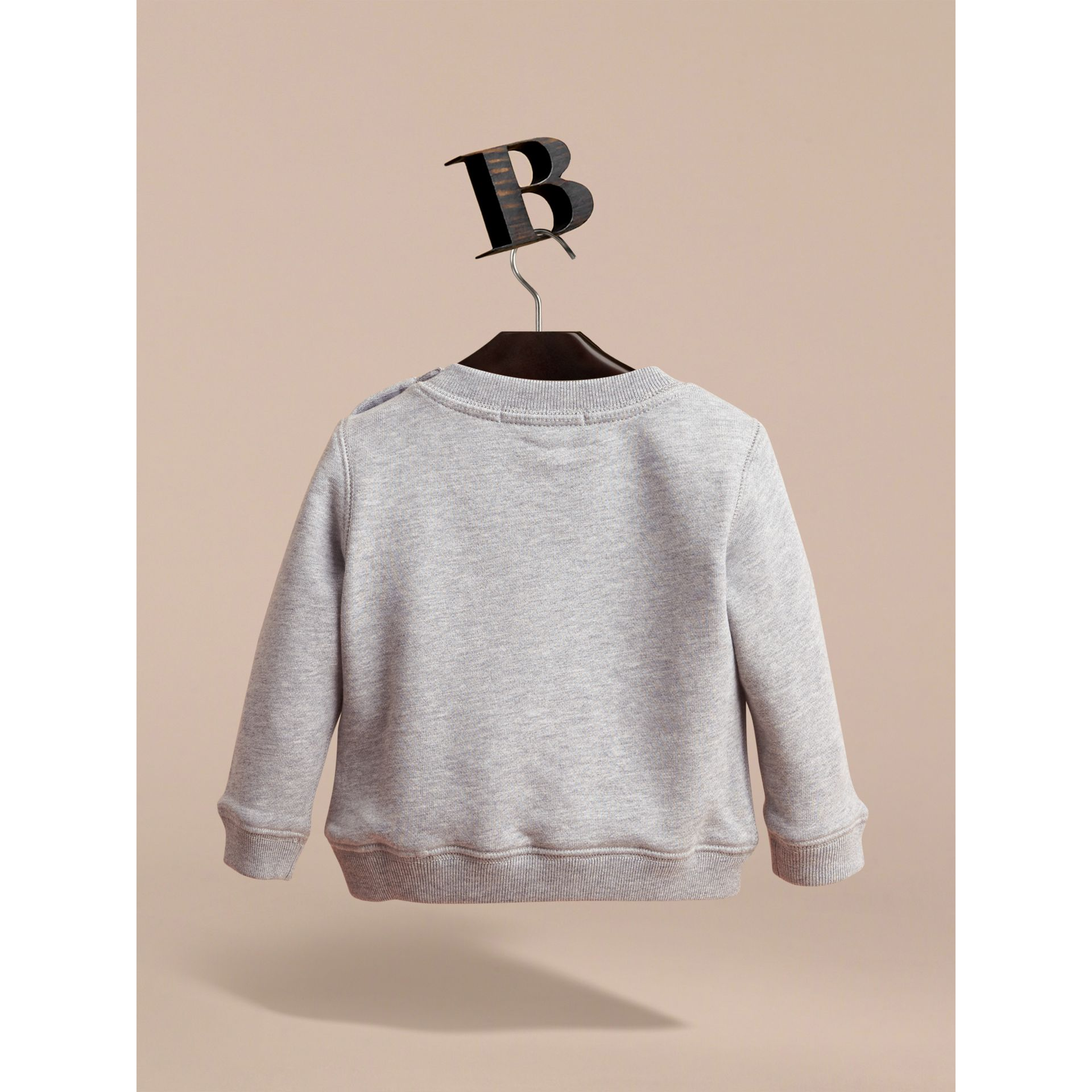 Embroidered Cotton Jersey Sweatshirt in Grey Melange - Children | Burberry - gallery image 3