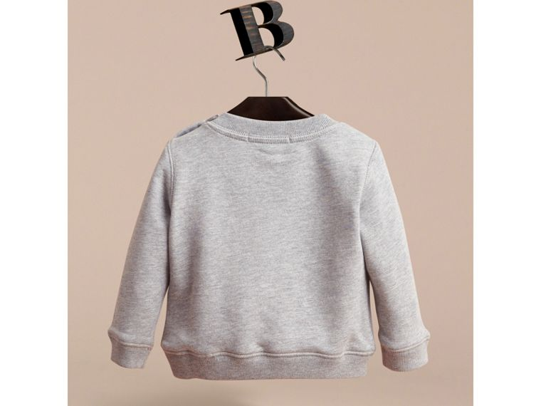 Embroidered Cotton Jersey Sweatshirt in Grey Melange - Children | Burberry - cell image 2