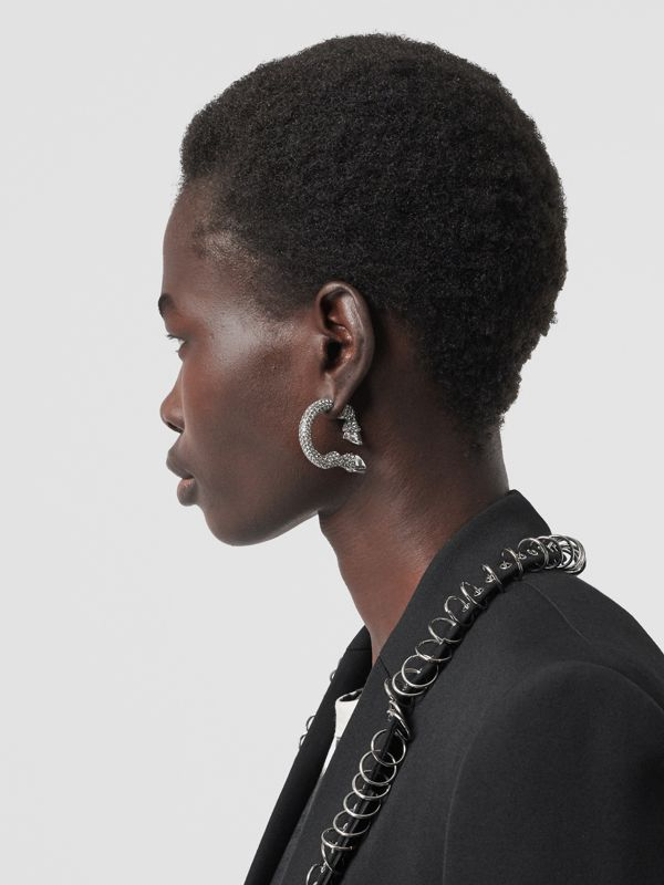 Crystal Ruthenium-plated Hoof Open-hoop Earrings in Black Diamond/rutenio - Women | Burberry Australia - cell image 2