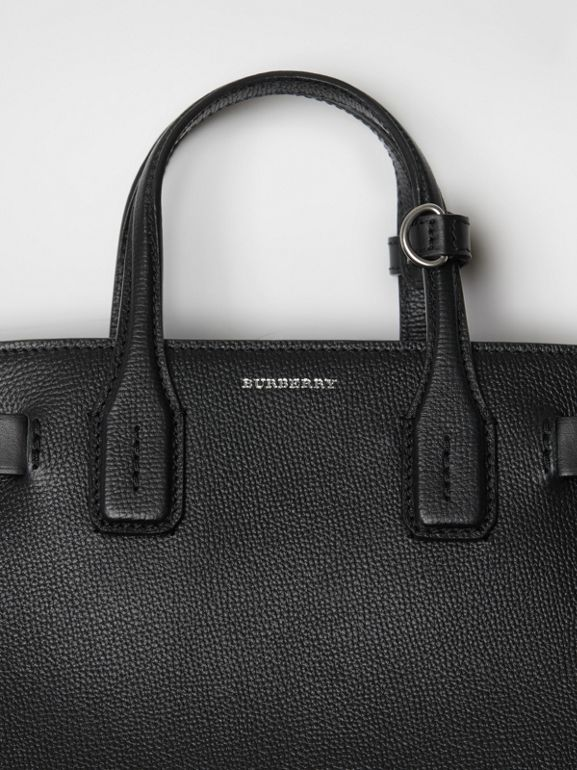 The Small Banner in Grainy Leather in Black - Women | Burberry - cell image 1