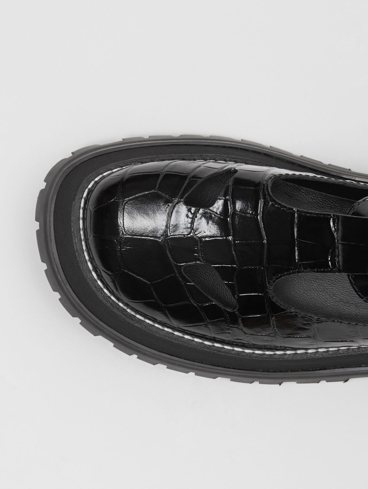Embossed Leather T-bar Shoes (Black)