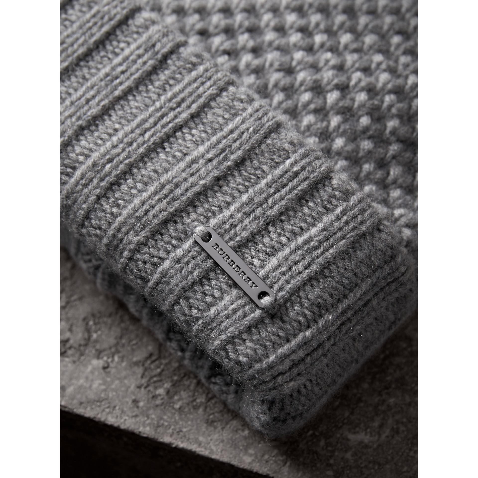 Fur Pom-Pom Beanie in Mid Grey - Women | Burberry - gallery image 2