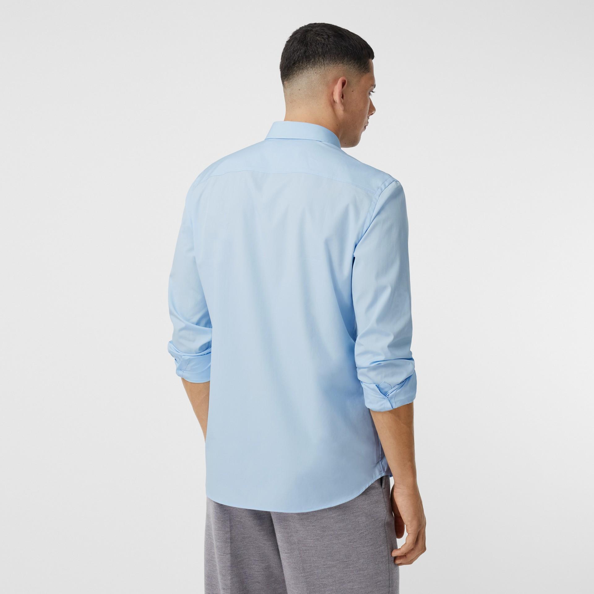 Monogram Motif Stretch Cotton Poplin Shirt in Pale Blue - Men   Burberry Australia - gallery image 2