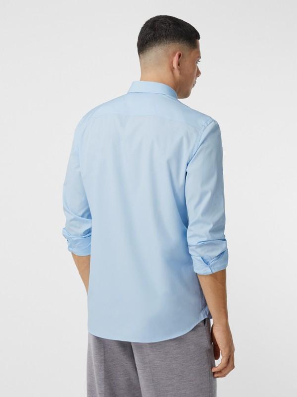 Monogram Motif Stretch Cotton Poplin Shirt in Pale Blue - Men   Burberry Australia - cell image 2