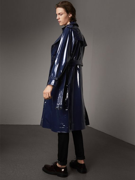 Laminated Cotton Trench Coat in Navy - Men | Burberry Canada - cell image 2