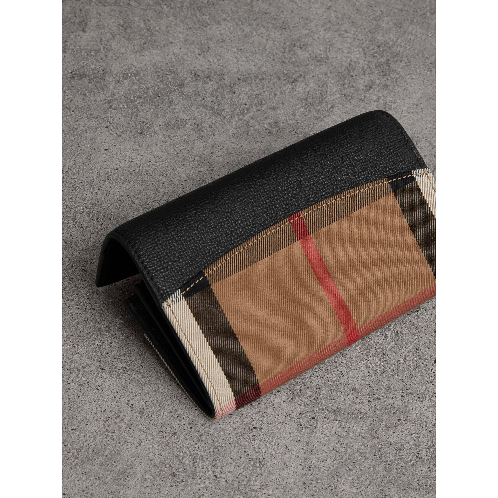 House Check And Leather Continental Wallet in Black - Women | Burberry Australia - gallery image 2