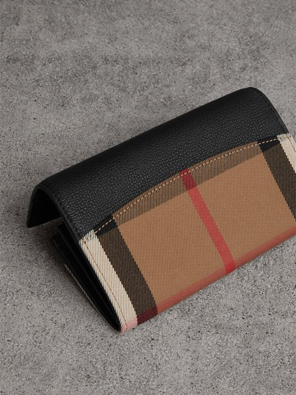 House Check And Leather Continental Wallet in Black - Women | Burberry Canada - cell image 2