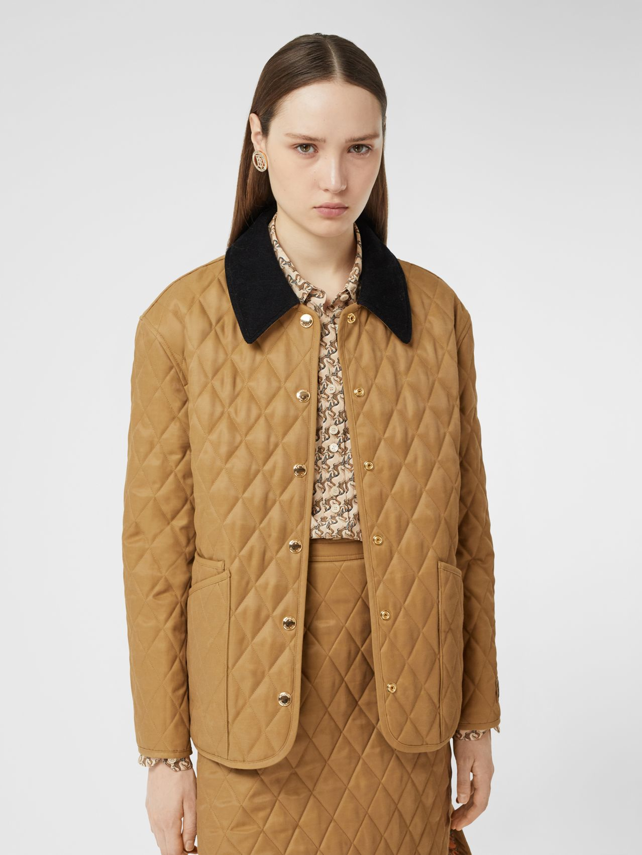 Corduroy Collar Diamond Quilted Jacket (Camel)