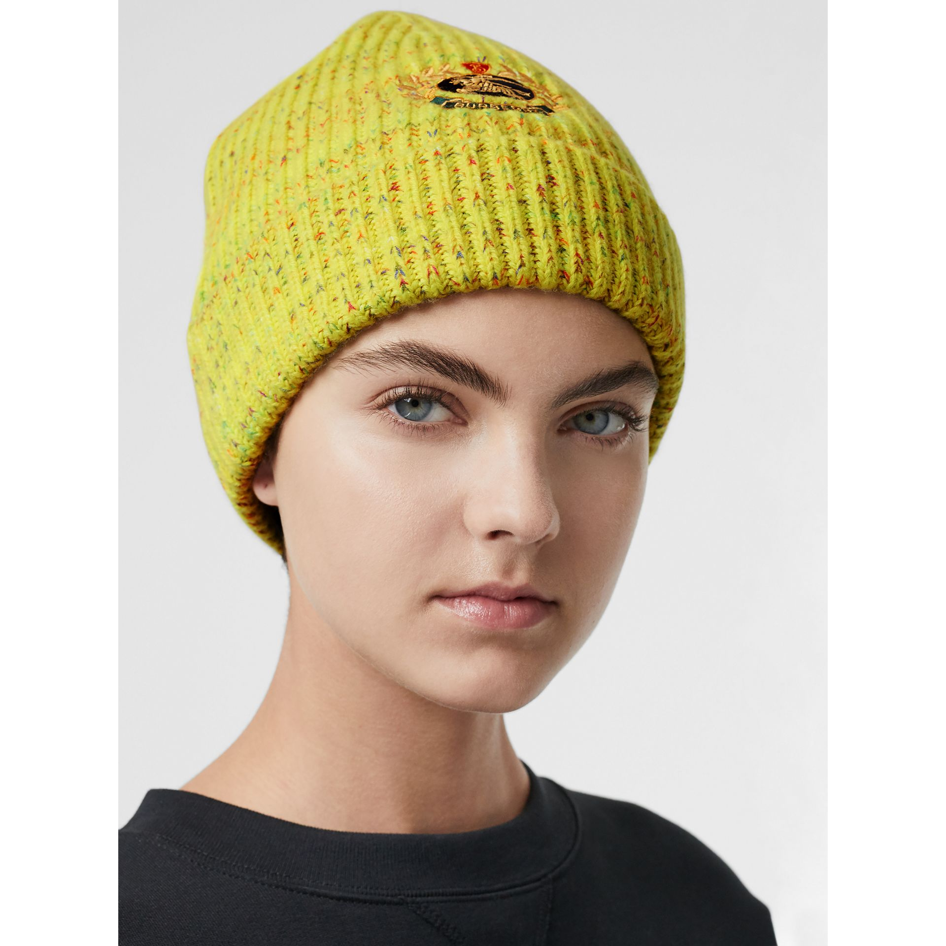 Embroidered Archive Logo Wool Blend Beanie in Gorse Yellow | Burberry United Kingdom - gallery image 2