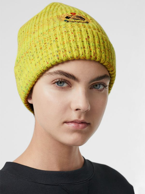 Embroidered Archive Logo Wool Blend Beanie in Gorse Yellow | Burberry United Kingdom - cell image 2
