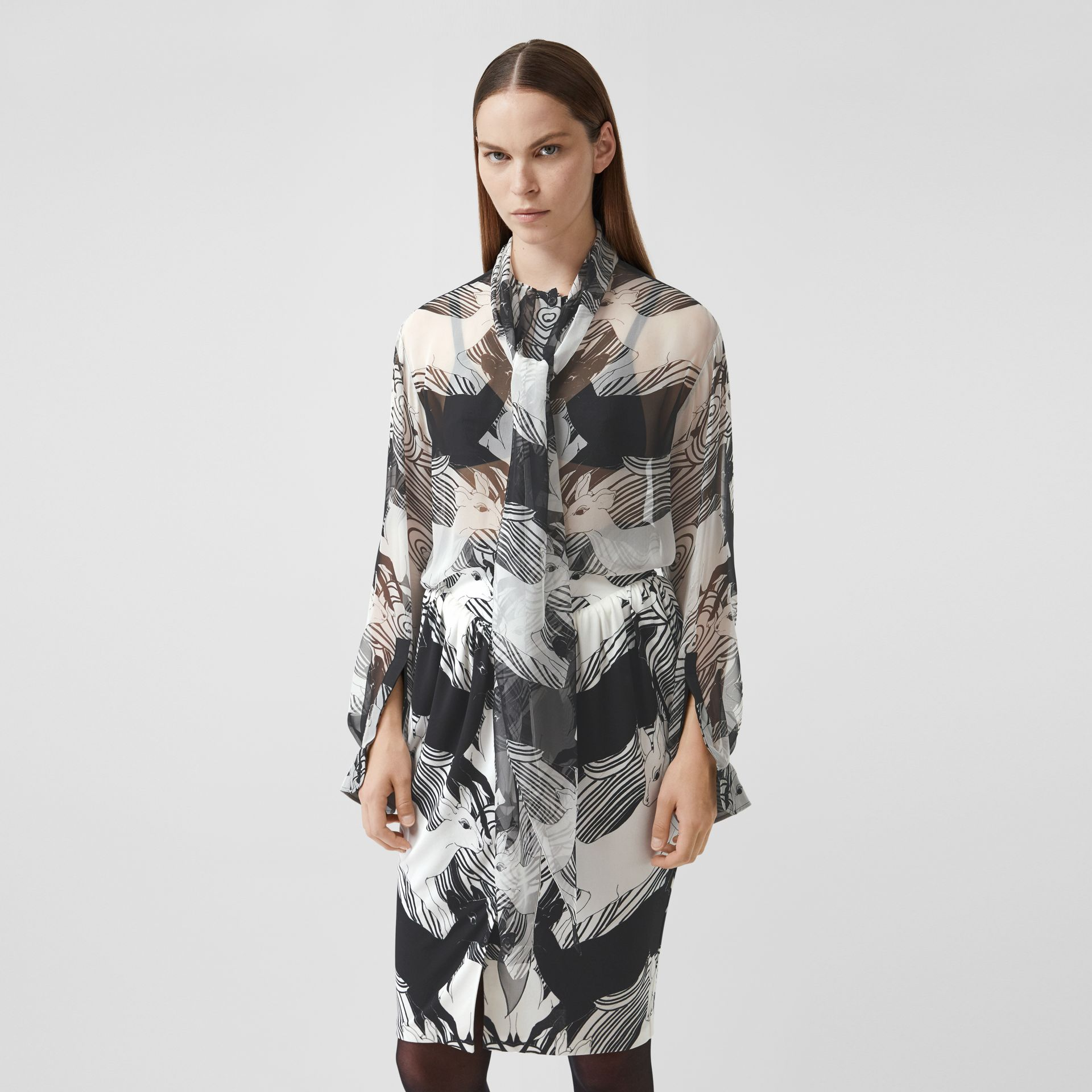 Deer Print Silk Chiffon Pussy-bow Blouse in Monochrome - Women | Burberry - gallery image 4