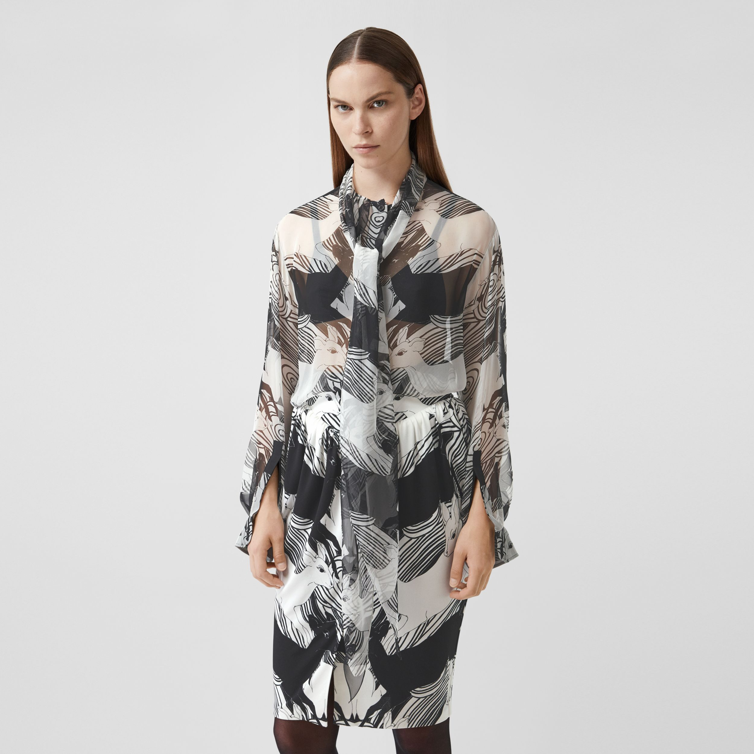 Deer Print Silk Chiffon Pussy-bow Blouse in Monochrome - Women | Burberry - 1
