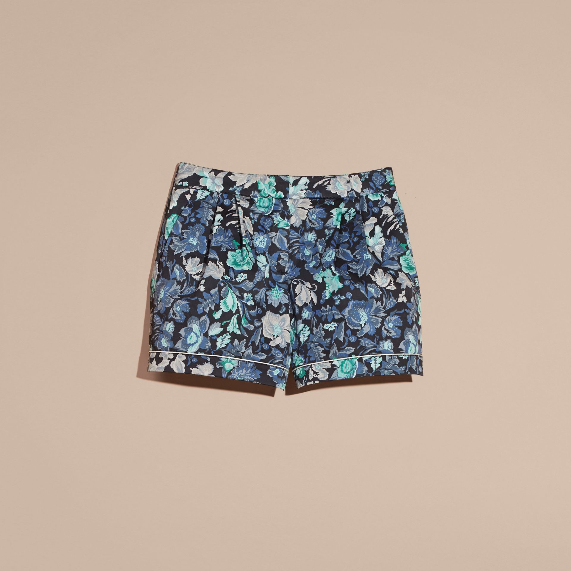Navy Floral Print Cotton Pyjama-style Shorts - gallery image 4