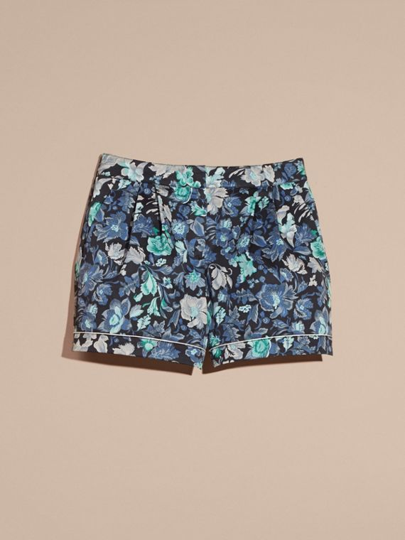 Navy Floral Print Cotton Pyjama-style Shorts - cell image 3