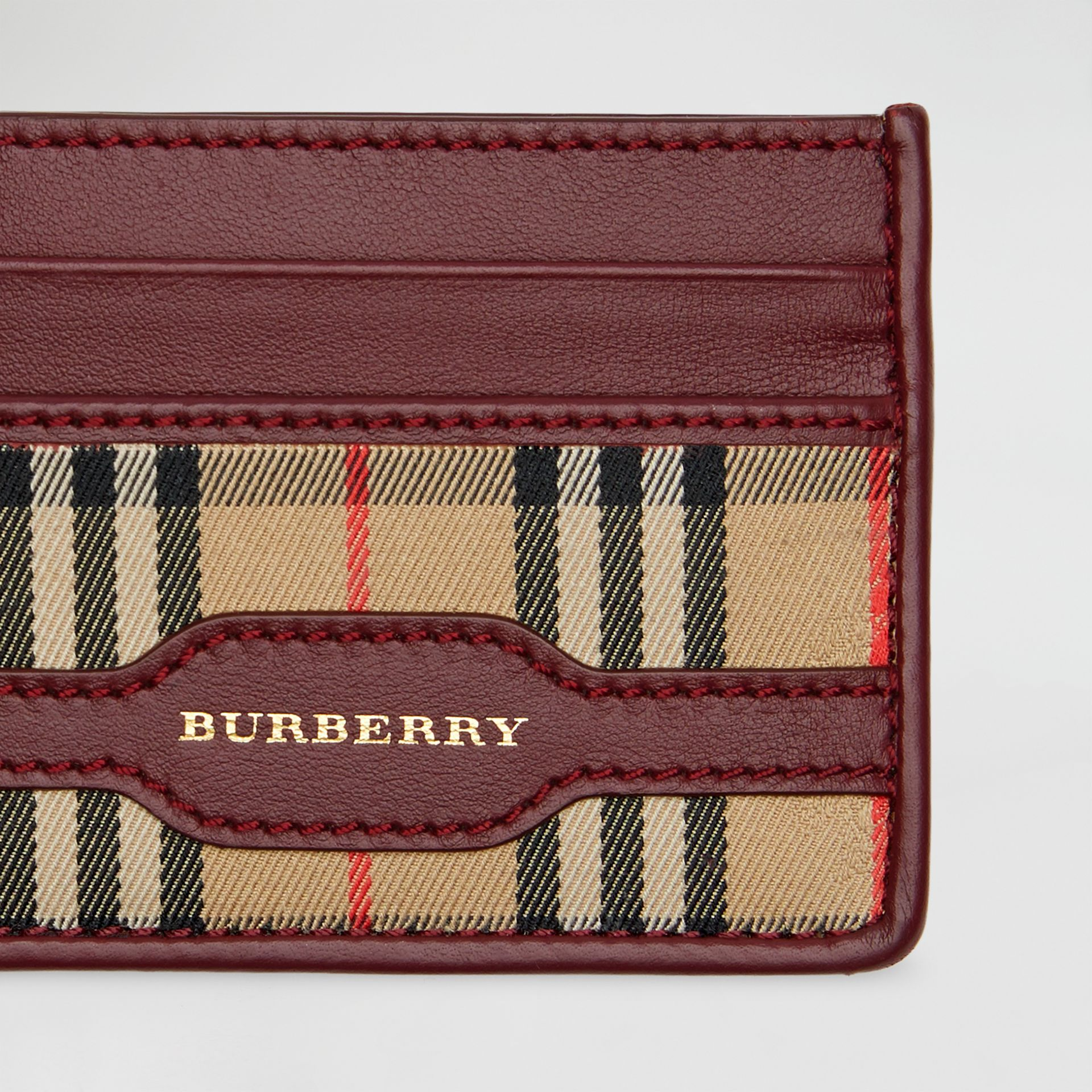 1983 Check and Leather Card Case in Antique Red | Burberry - gallery image 1