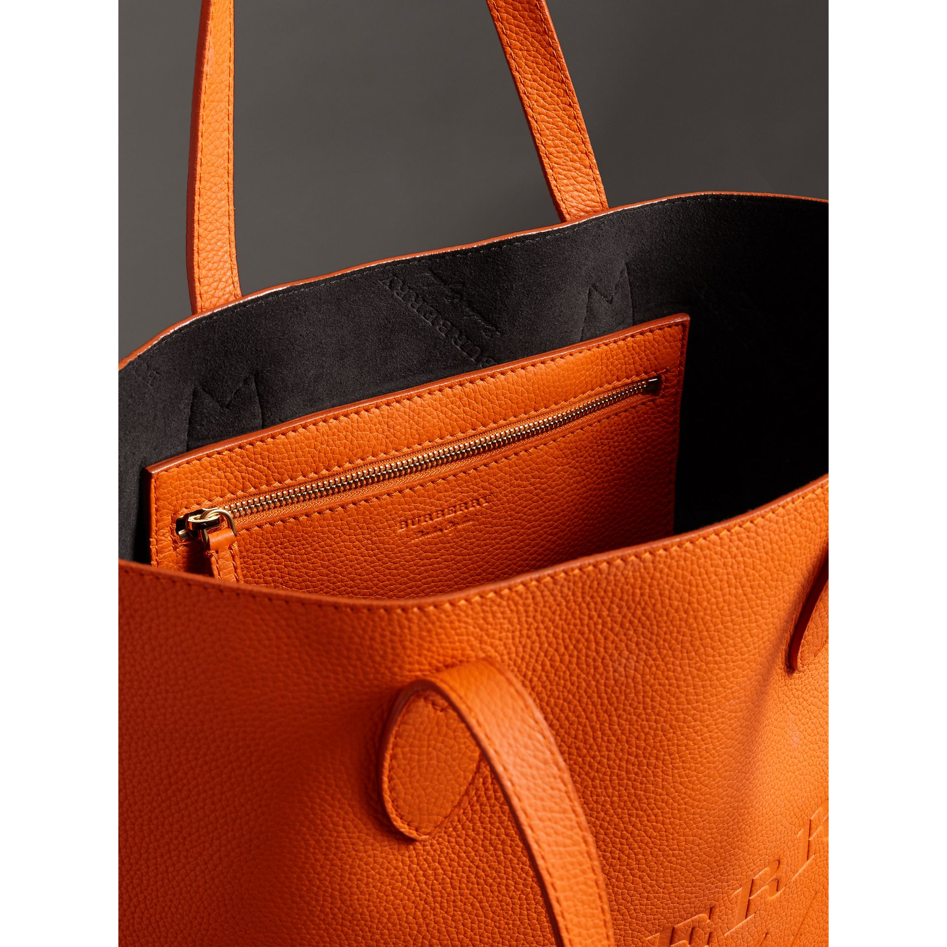Embossed Leather Tote in Dark Clementine | Burberry - gallery image 2