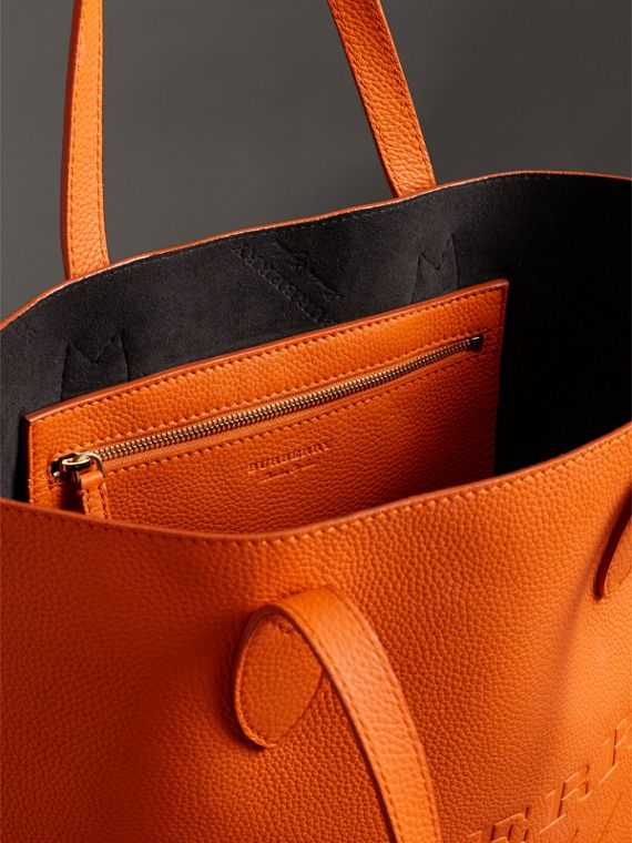 Embossed Leather Tote in Dark Clementine | Burberry - cell image 2