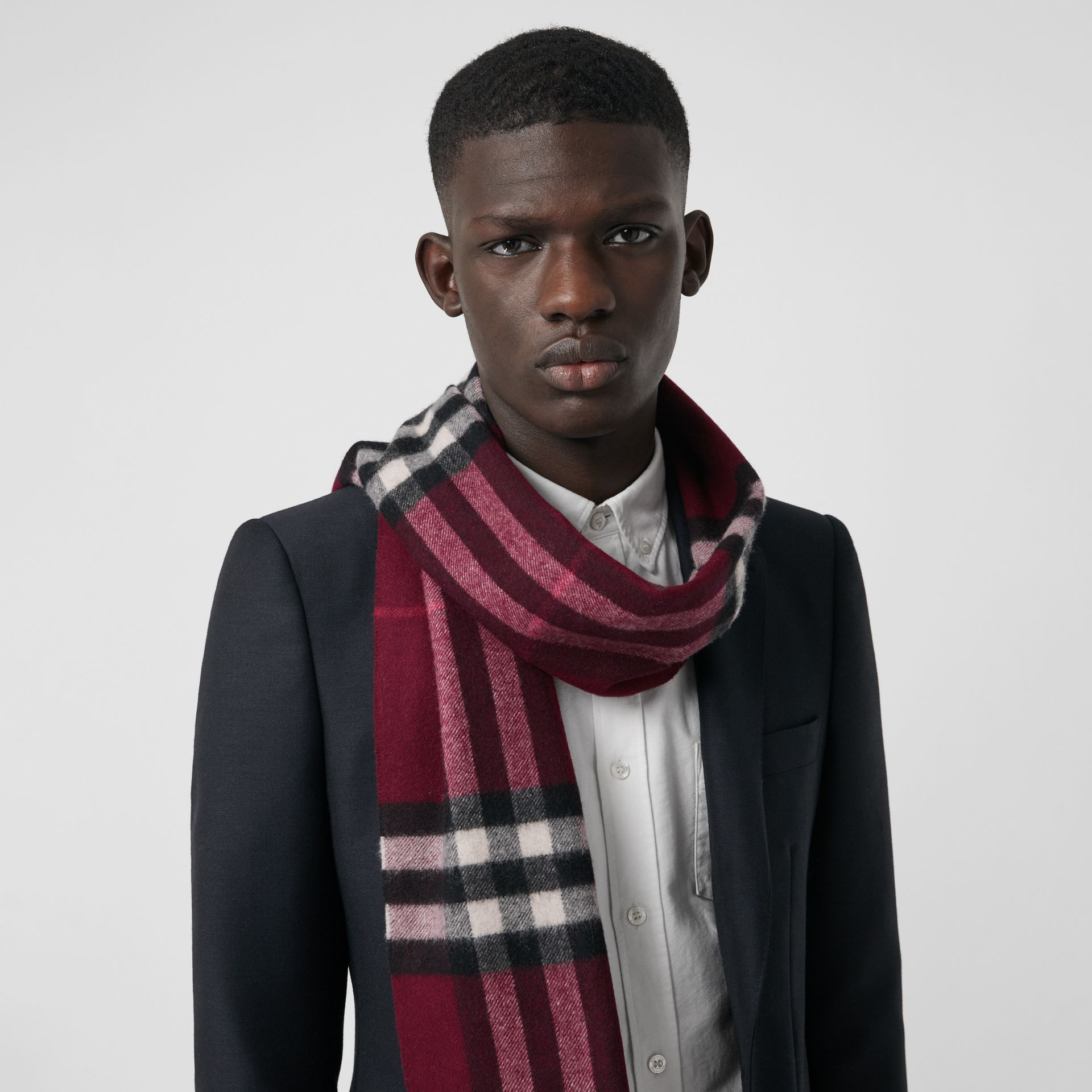 The Classic Check Cashmere Scarf in Plum | Burberry United Kingdom - gallery image 5