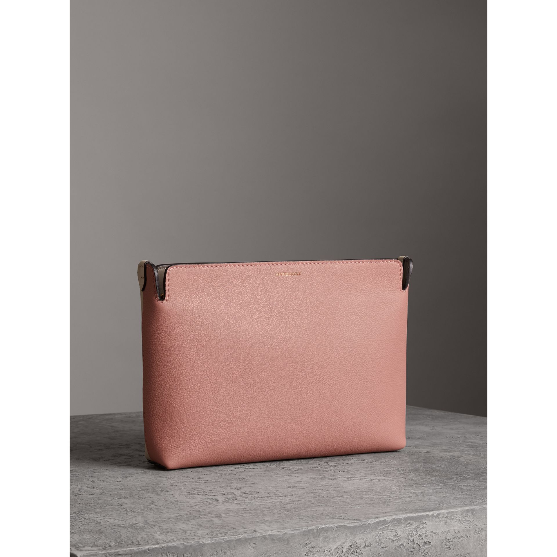 Medium Tri-tone Leather Clutch in Dusty Rose/limestone | Burberry Australia - gallery image 6