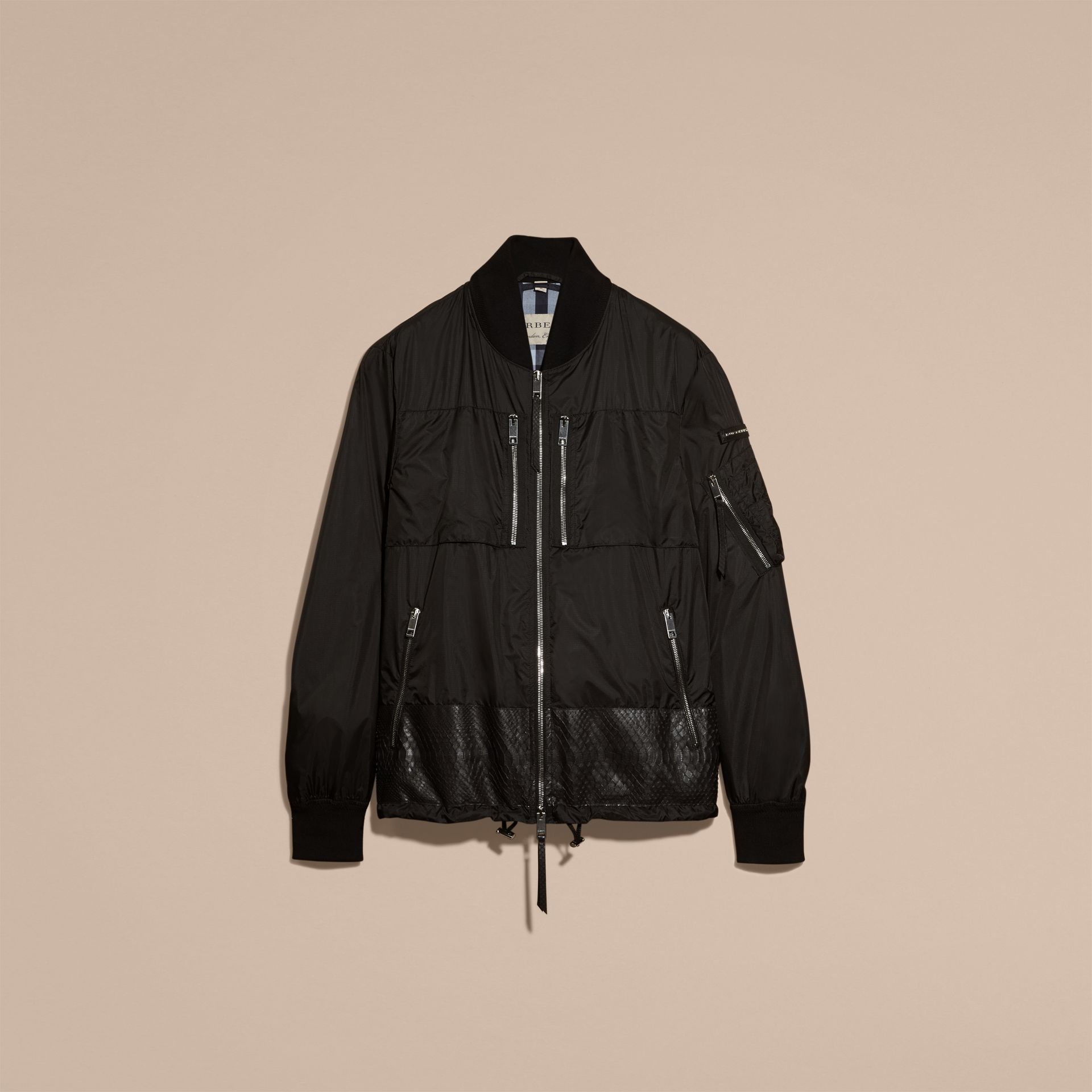 Lightweight Technical Bomber Jacket with Snakeskin in Black - Men | Burberry Canada - gallery image 4