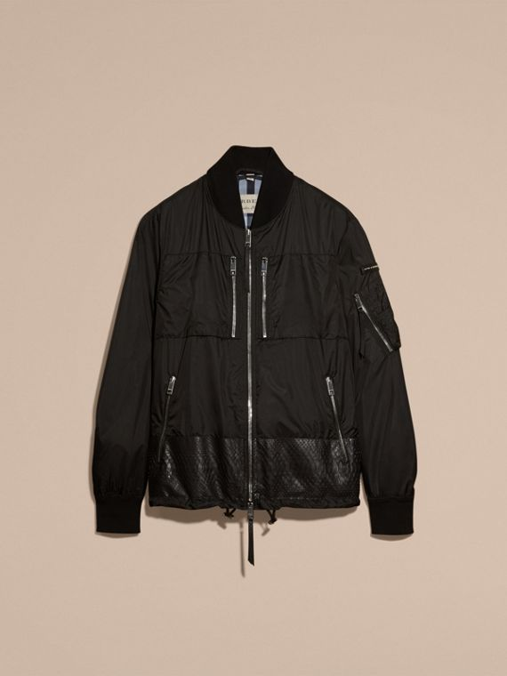 Lightweight Technical Bomber Jacket with Snakeskin in Black - Men | Burberry - cell image 3