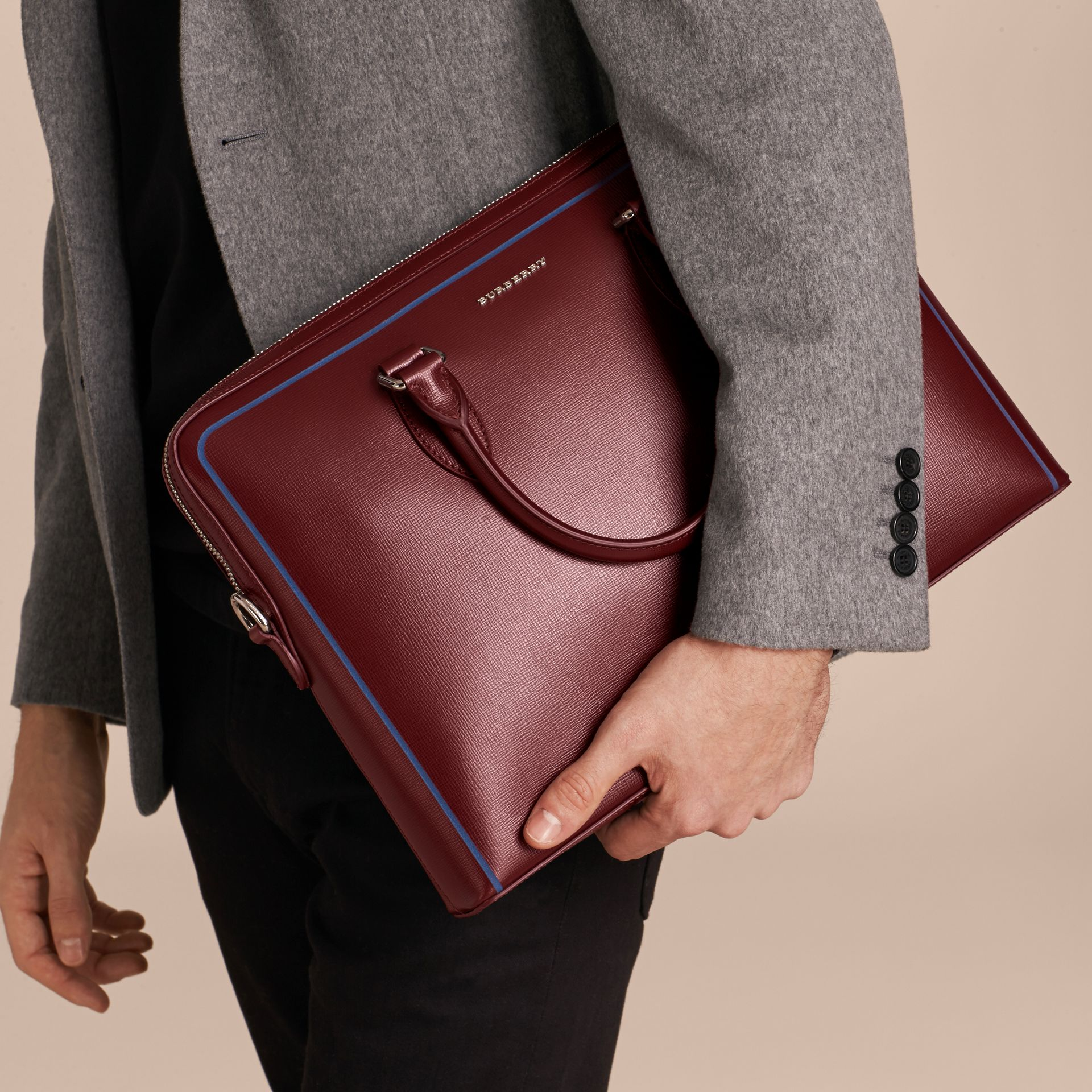 The Slim Barrow Bag in London Leather with Border Detail Burgundy Red - gallery image 3
