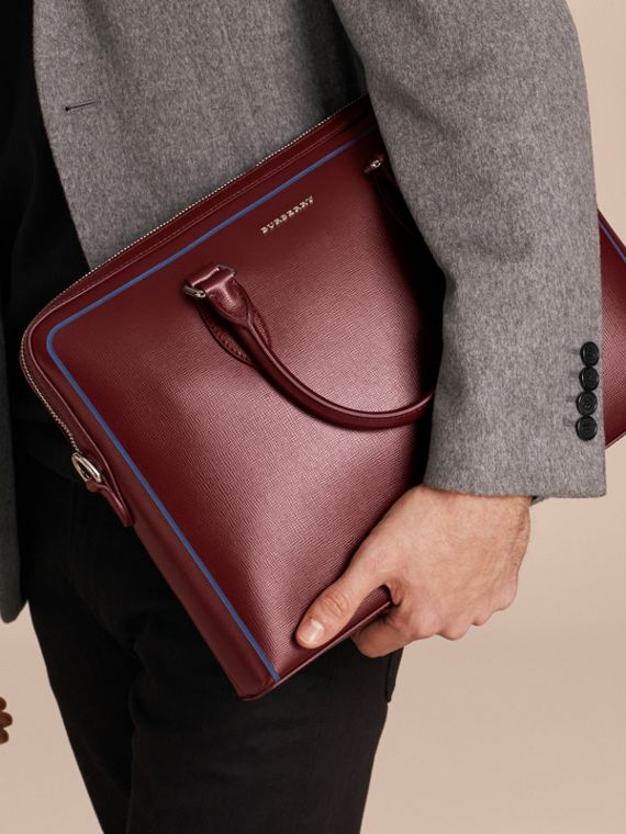 The Slim Barrow Bag in London Leather with Border Detail Burgundy Red - cell image 2